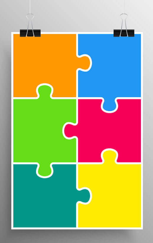 rectanglar puzzle with six colorful pieces hanging